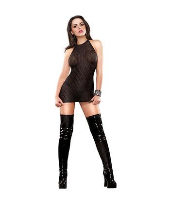 B442 Halter Dress & G-String Black Lingeriemedium -Women