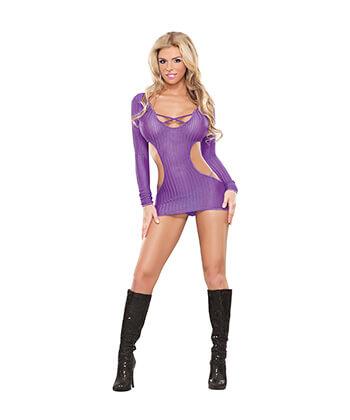 B444 Cut Out Dress & G-String Purple Lingeriemedium -Women