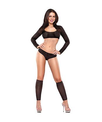 B445 Crop Top Boy Short & Leg Warmer Set Black Lingeriemedium -Women