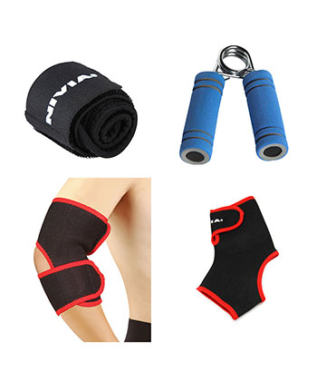 Combo Of Nivia Wrist-Ankle-Hand Grip & Elbow