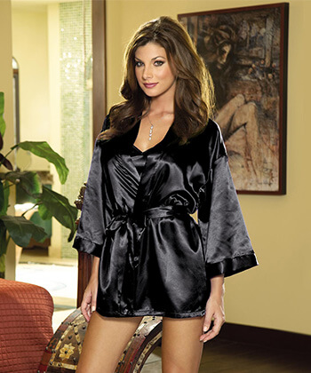 Black Robe And Chemise Set Small -Women