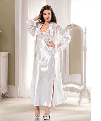 White Robe And Chemise Set Sexy Robes -Women